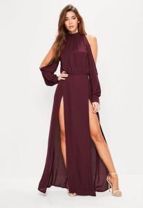 robe-longue-bordeaux-jambes-et-manches-fendues